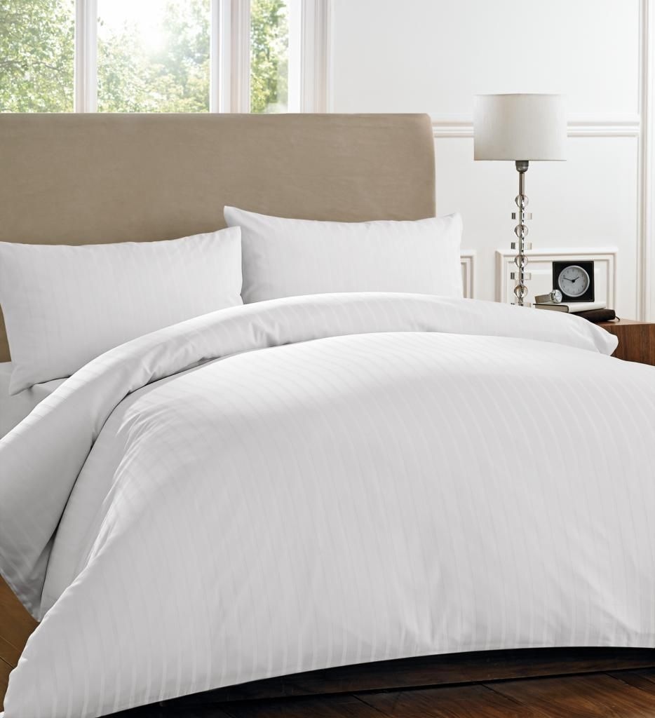 Henderson stripe white bedding collection double bed set for Bed sets with mattress