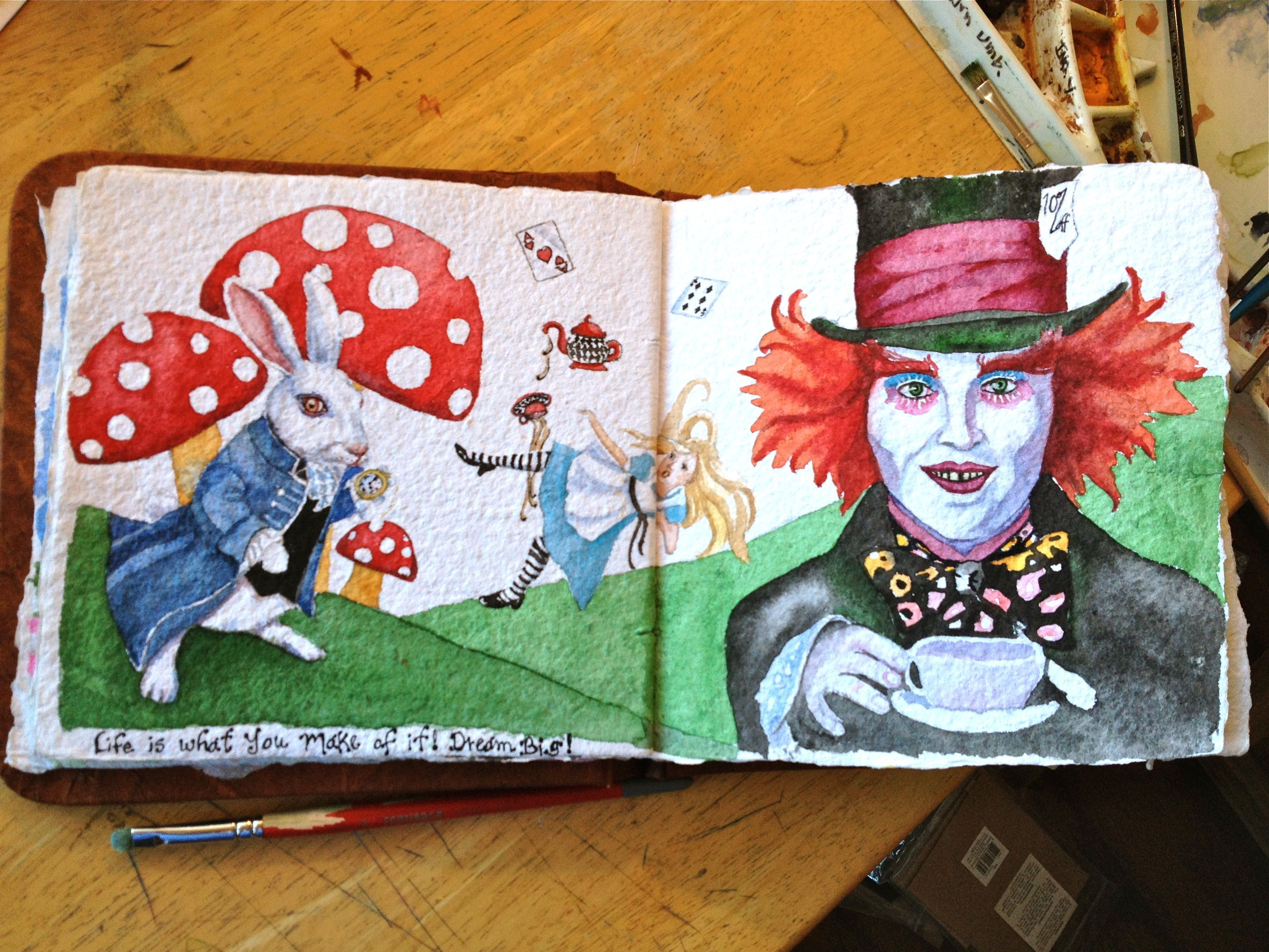 Journal entry sketchbook entry alice in wonderland Alice and wonderland art projects