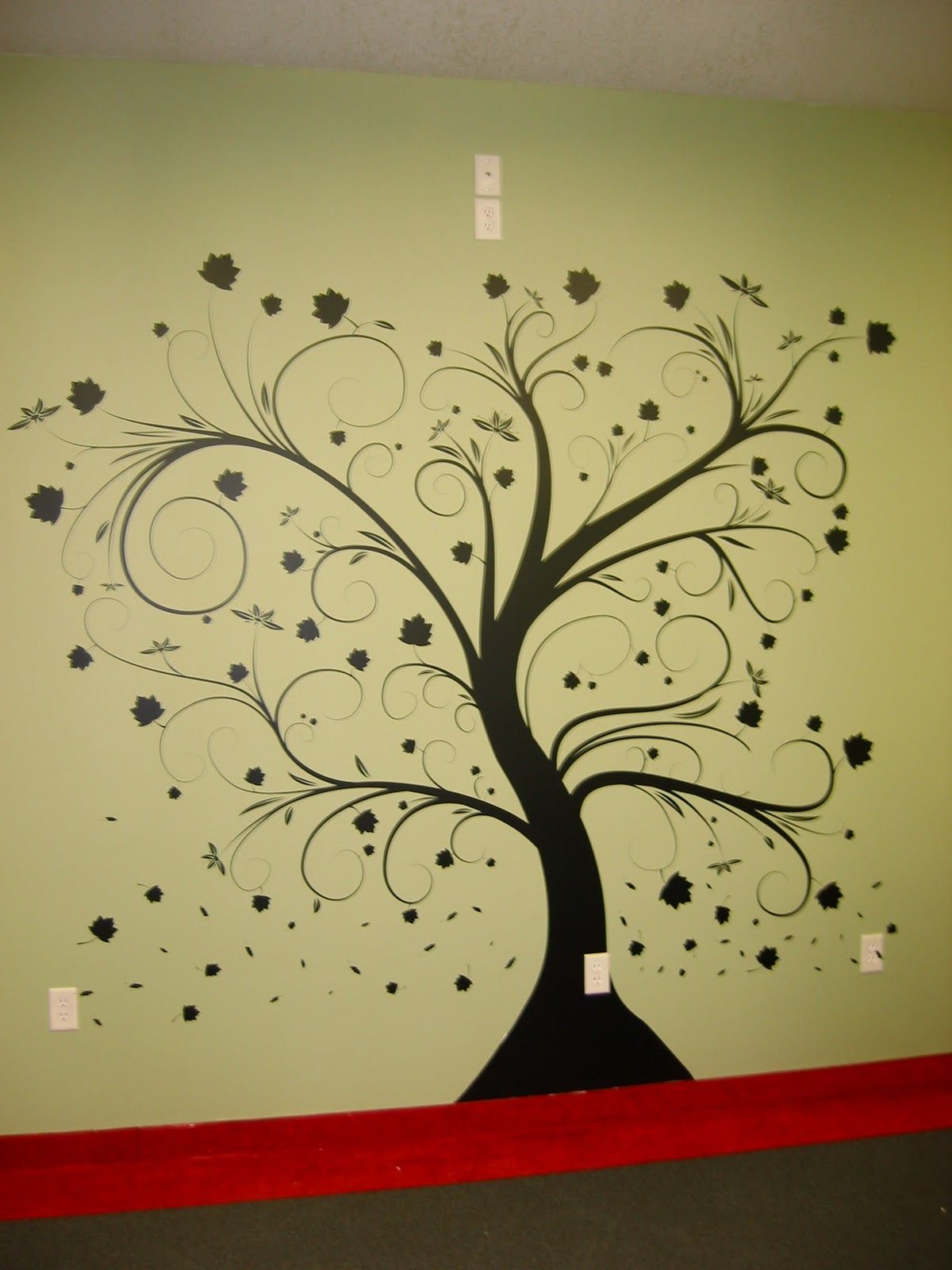 wall paint stencils tree with beautiful natural dark tree color ...