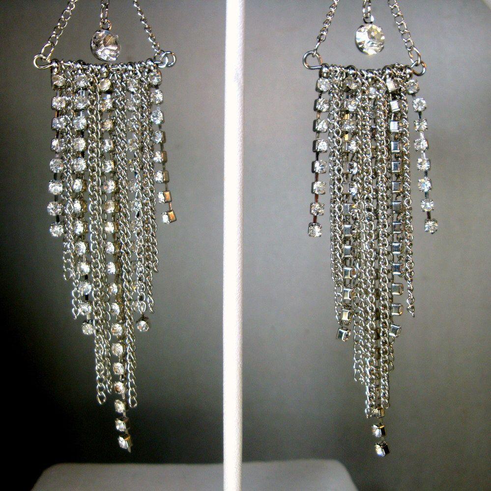 Long Fancy Rhinestone Earrings, Hanging Glamorous Sparkling Circles w Teardrop Dangles, icy Hot Rinestones, OOAK, R Starr, 1980s by VintageStarrBeads on Etsy https://www.etsy.com/listing/239744780/long-fancy-rhinestone-earrings-hanging