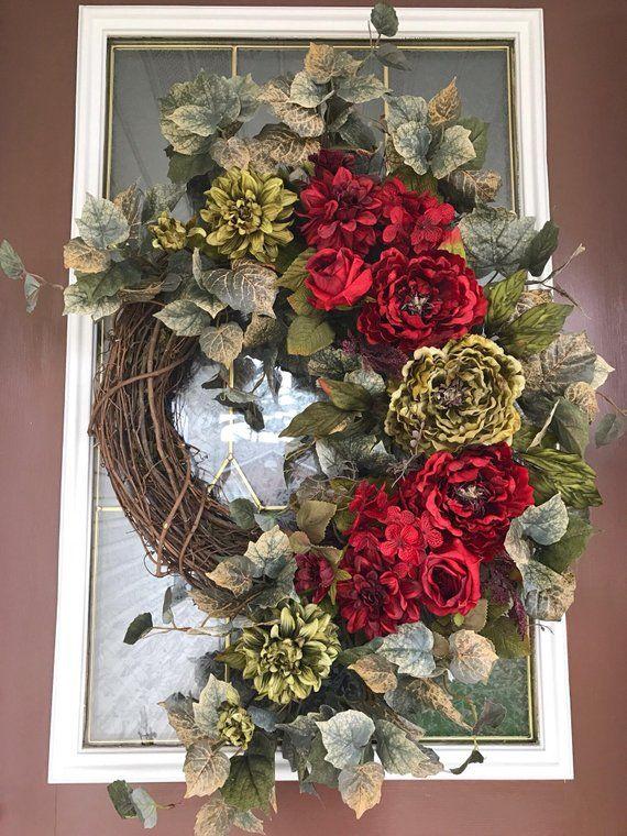 Christmas Wreath, Peony Wreath, Elegant Wreath, Grapevine Wreath, Front  Door Wreath This