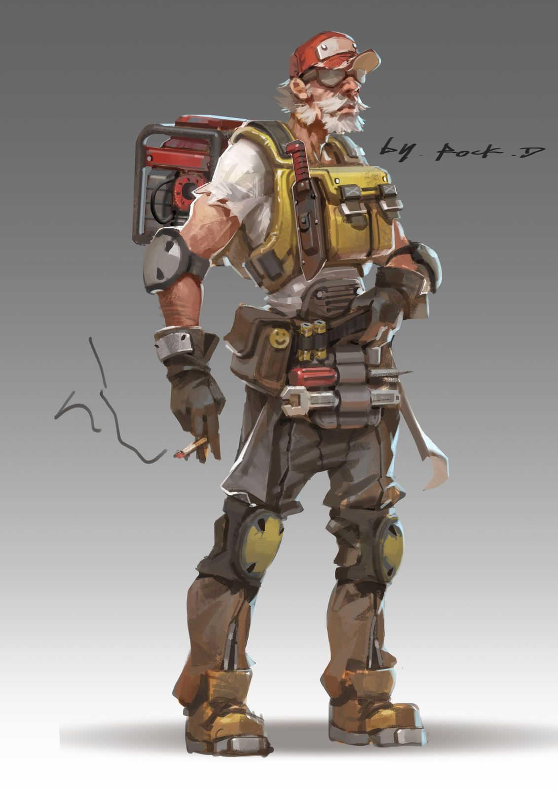 Mechanic Cyberpunk character, Character concept