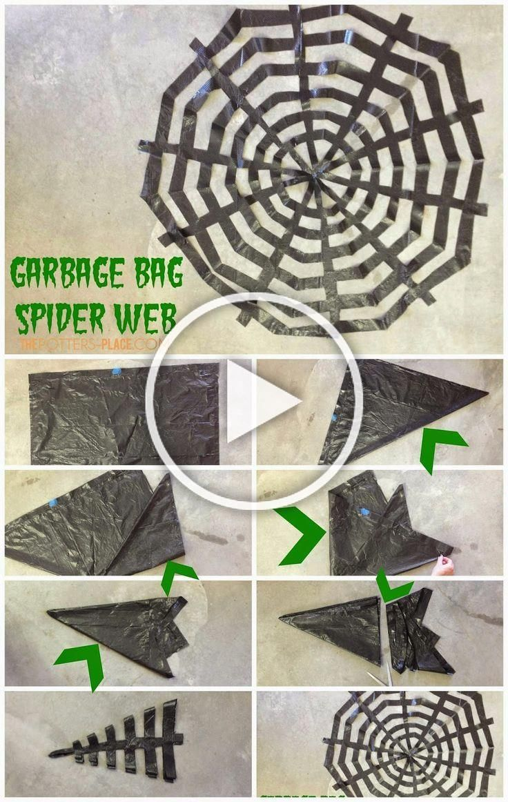 Spider web out of a black garbage bag Clever Halloween Decor  Not So Scary  Halloween Bastelei