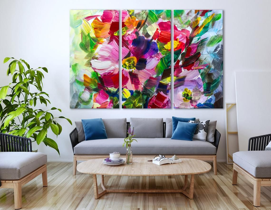 Oil Painting Bright Flowers Canvas Print Impressionism Wall Etsy Flower Canvas Wall Art Floral Wall Decor Bright Artwork