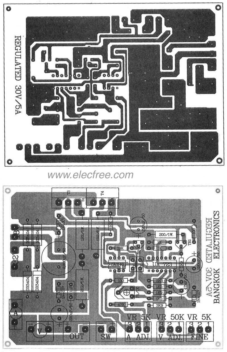 0 30v 5a Regulated Variable Power Supply Circuit Eleccircuitcom Wiring Diagram Pcb Regulator By Lm723ca31402n3055