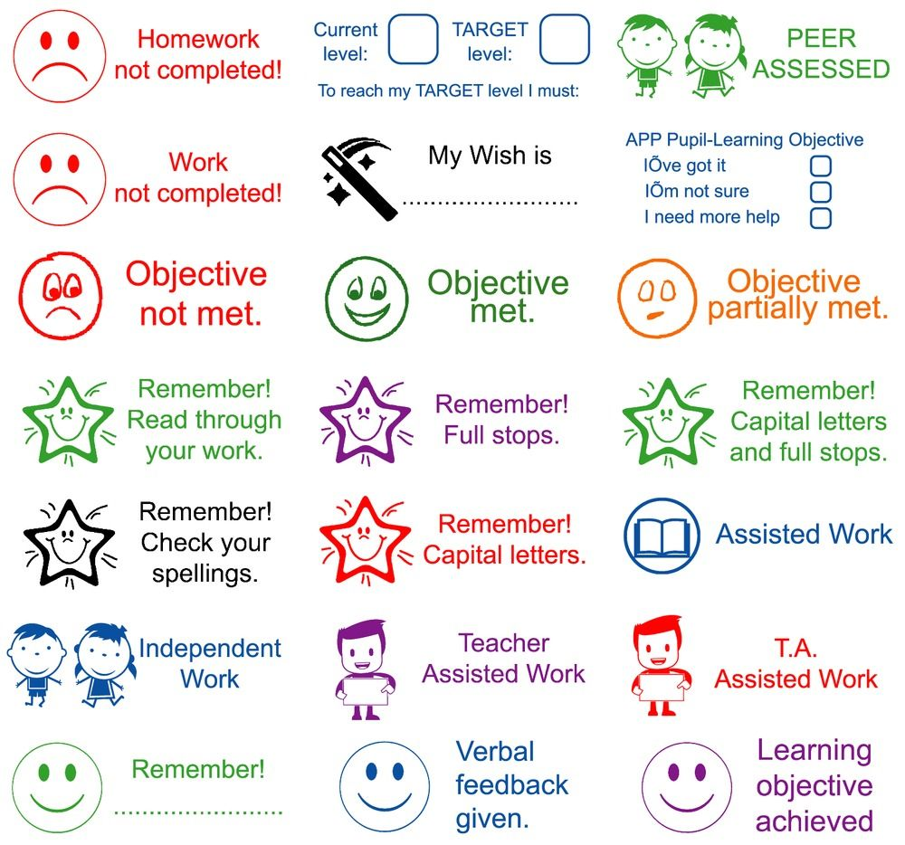 Details about Teacher Assessment School Stamps, Praise ...
