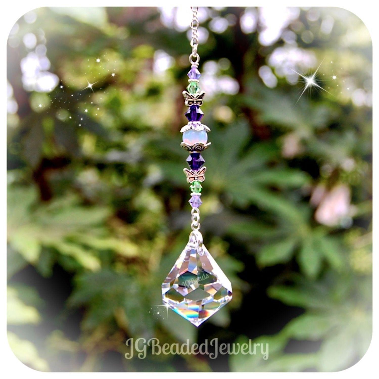 2c34b42c38ebb2 Diamond Swarovski Crystal Suncatcher - JG Beaded Jewelry #Swarovski #Crystal  #Suncatcher #Prism
