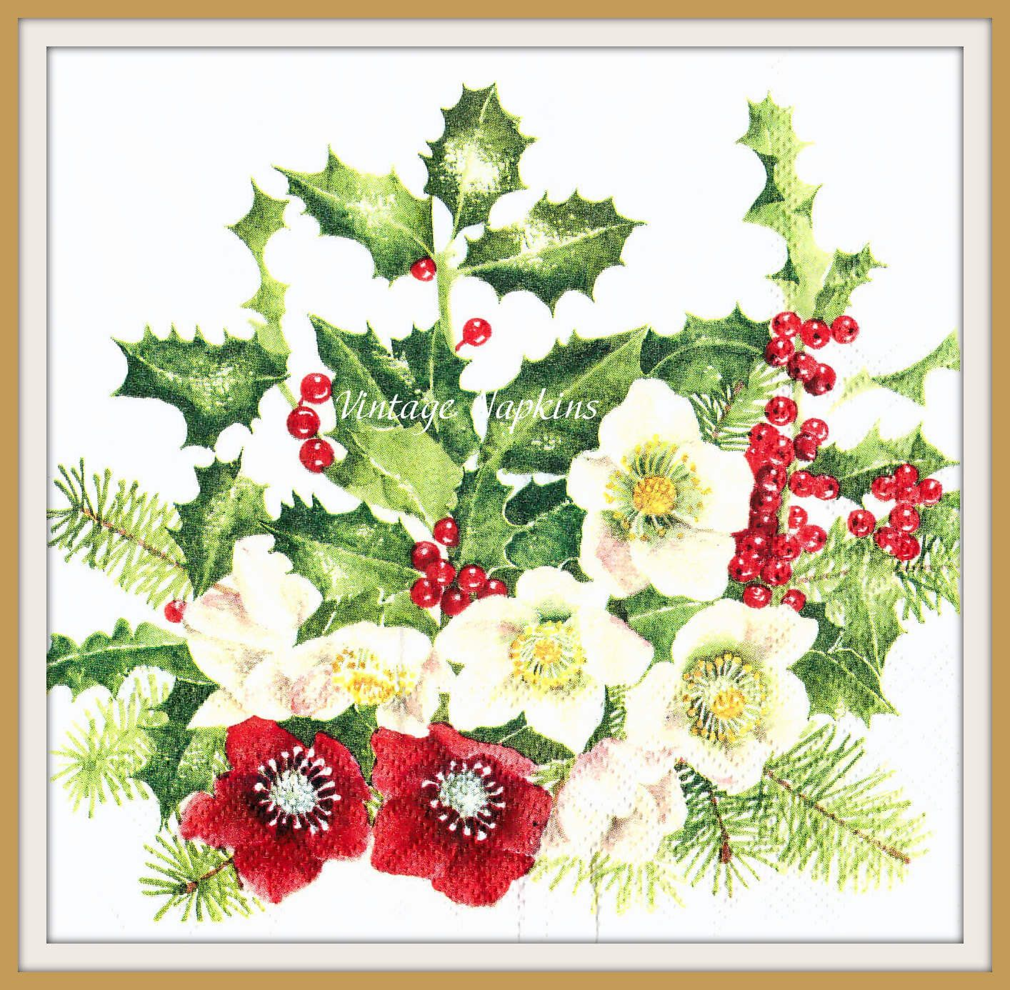 4 Single Table Paper Napkins for Decoupage Helleborus Red  Christmas Flowers