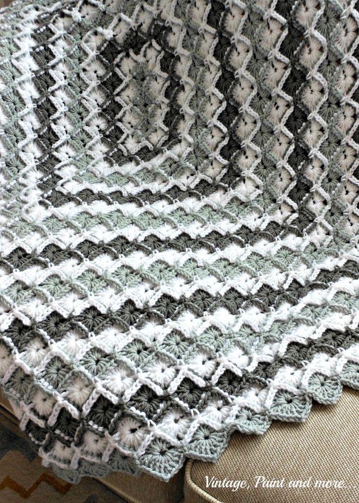 Grey Diamond Afghan Pattern | Decken, Häkelarbeiten und Häkeldecke
