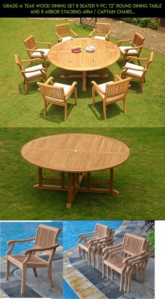 grade a teak wood dining set 8 seater 9 pc 72 round dining table