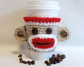 Sock Monkey crocheted Coffee sleeve COZY . . .might be cute for my kids' hot cocoa fixes!