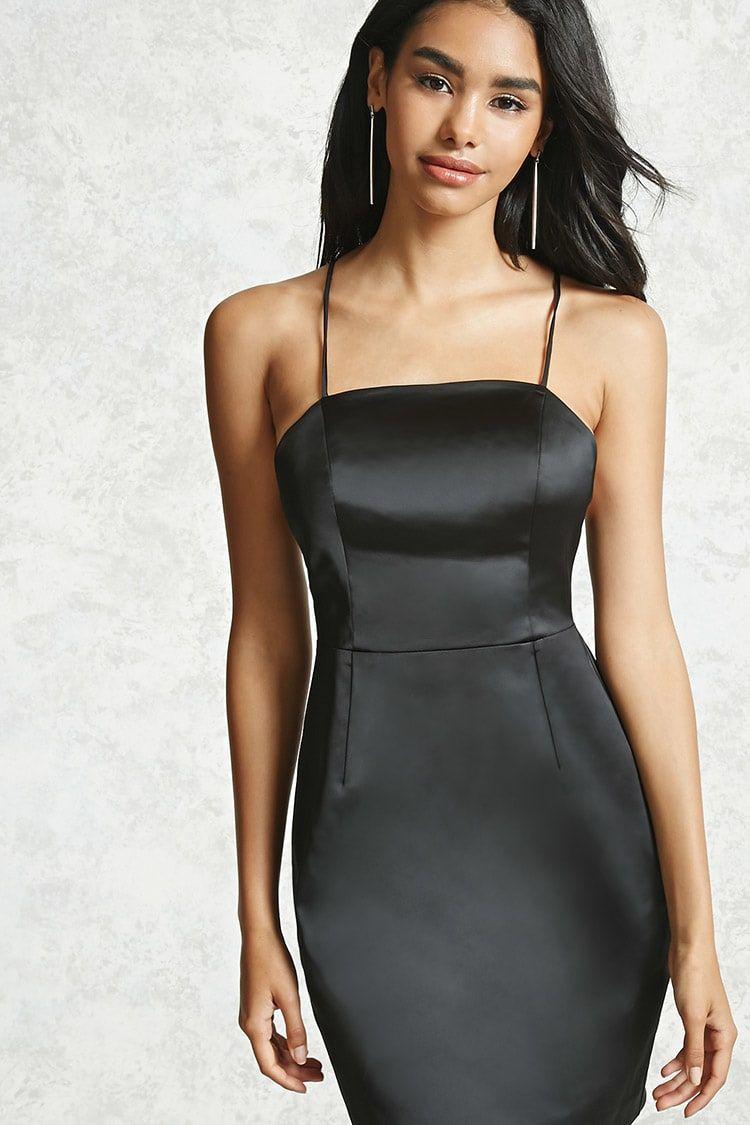Forever 21 A Satin Woven Dress Featuring A Square Neck Princess Seams Self Tie Cami Straps That Crisscr Satin Dresses Satin Swing Dress Womens Black Dress [ 1125 x 750 Pixel ]