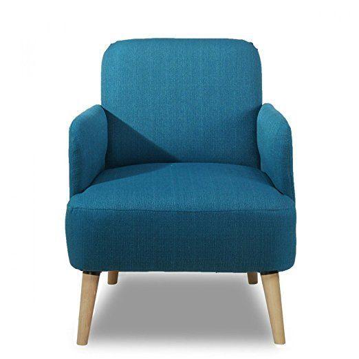 Déco Salon – Fauteuil rétro design tissu et pieds bois clair Brooks ...