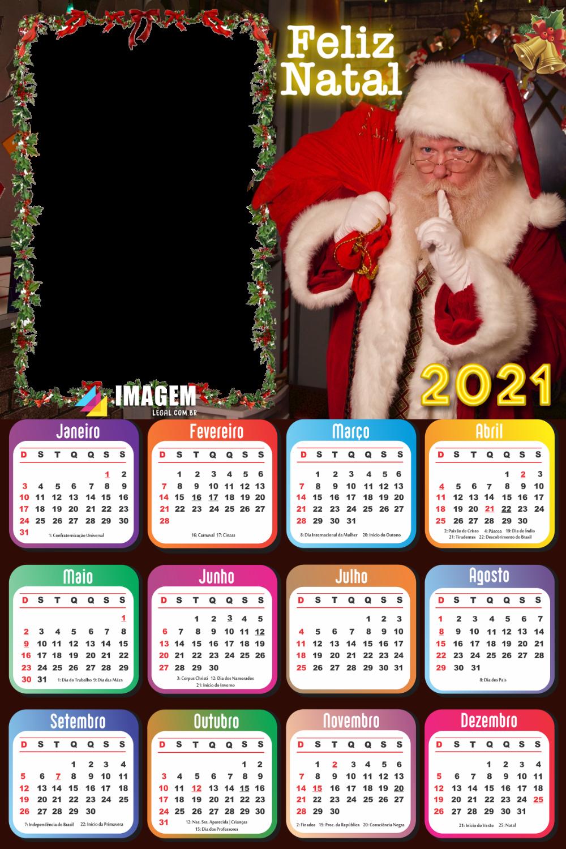 Colagem de Foto Calendário 2021 Feliz Natal Papai Noel ...