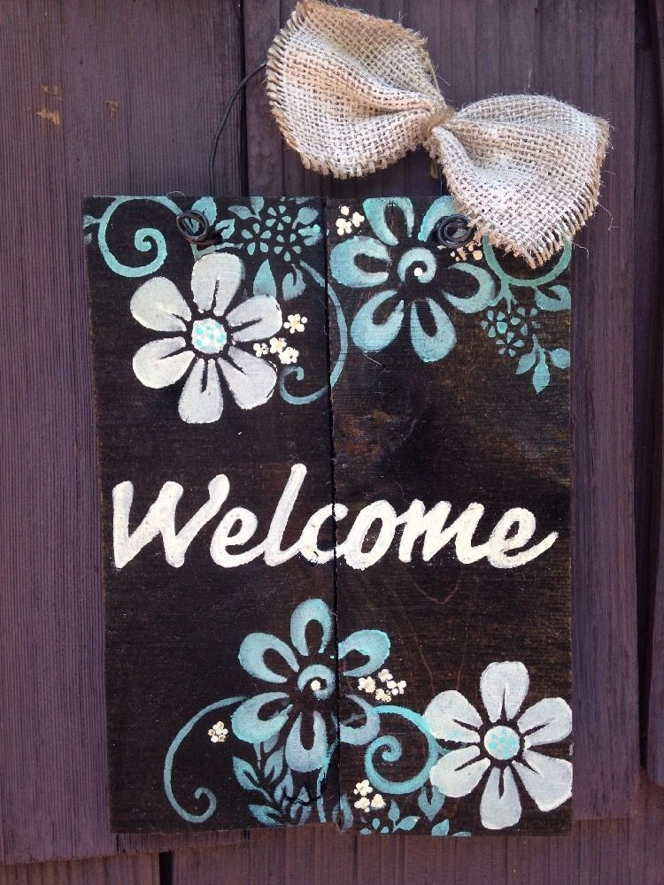 Welcome Plaque Sign Pallet Primitive Rustic Country Diy Handmade Flower Garden Ebay Painted Signs Diy Handmade Crafts