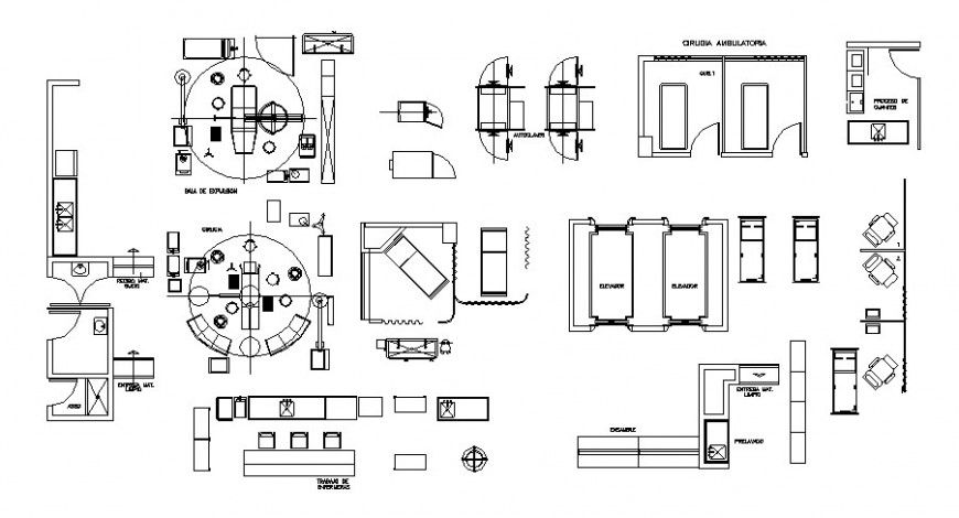 Plan Detail Of Furniture Units And Appliances 2d View Dwg File Colorful Furniture Furniture Decorative Table Lamps