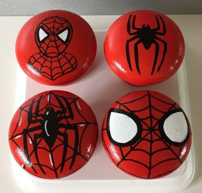 Superhero inspired 40mm Hand Painted Drawer Door Knobs Spiderman set of 4 knobs  £12.49