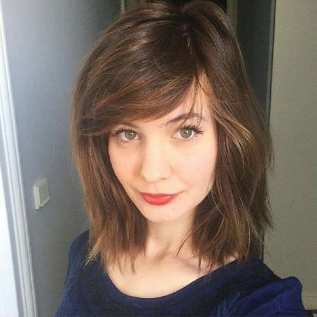 Shoulder Length Hairstyle With Bangs 2017 : Medium length hair with side bangs cute hairstyles for 2017
