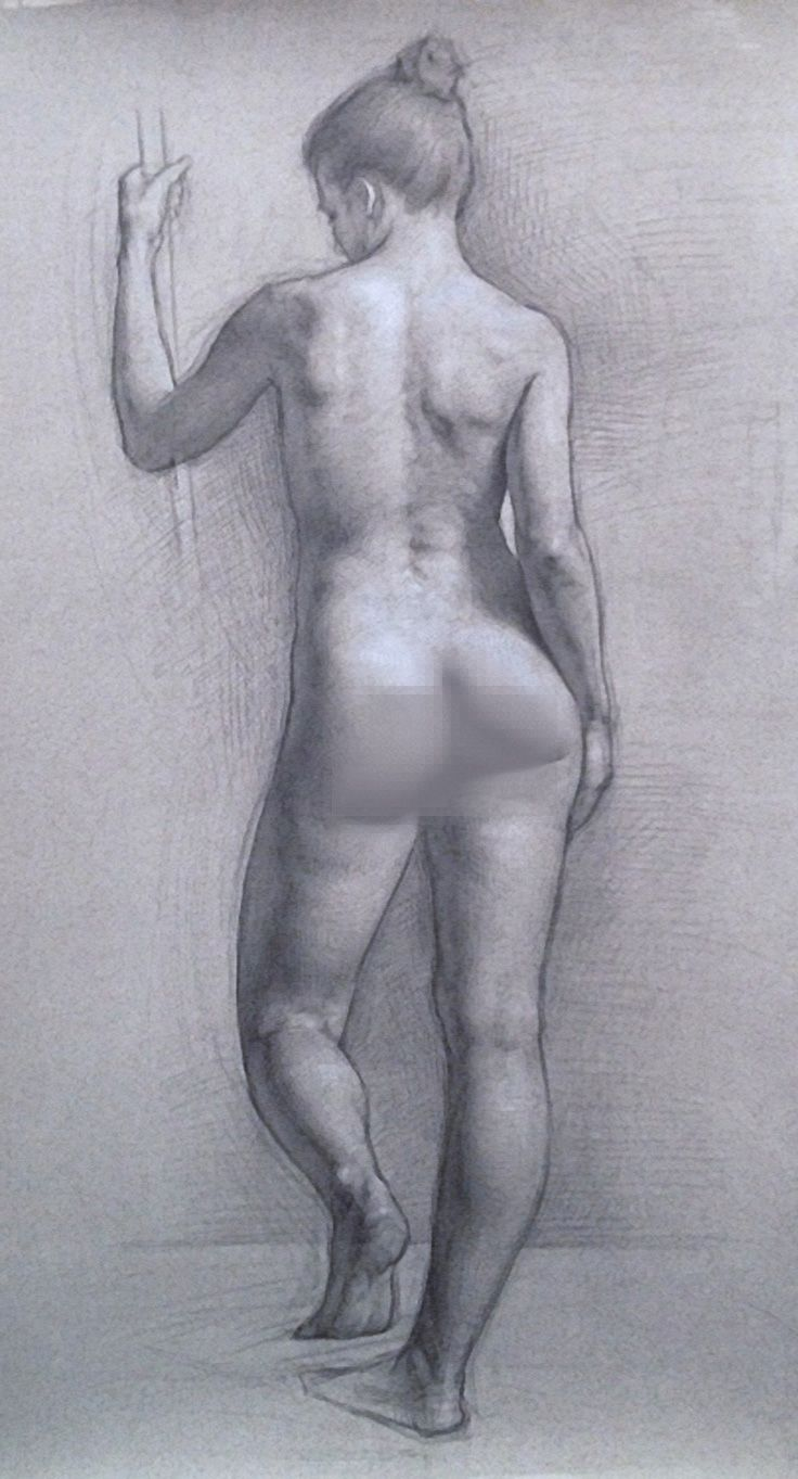 Patrick Byrnes Nude Female Back Anatomy Graphite And Chalk Drawing