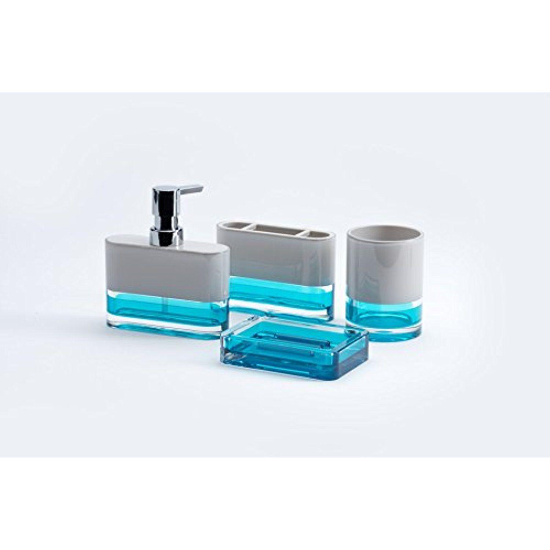 Immanuel Float Designer 4 Piece Elegant Beautiful Translucent Bathroom Accessory Set Includes Tumbler Bathroom Accessories Sets Lotion Dispenser Translucent