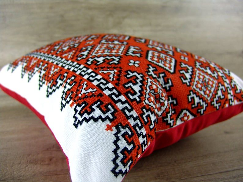 Rectangular Ukrainian hand embroidery throw pillow cover, Cross stitch embroidered rectangle cushion Ukrainian ethnc geometric cushion cover