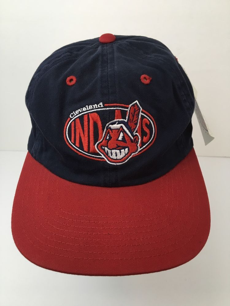7870ca216f56e NWT Cleveland Indians Hat Cap Chief Wahoo Team Colors Strapback Genuine MLB   Signatures  BaseballCap