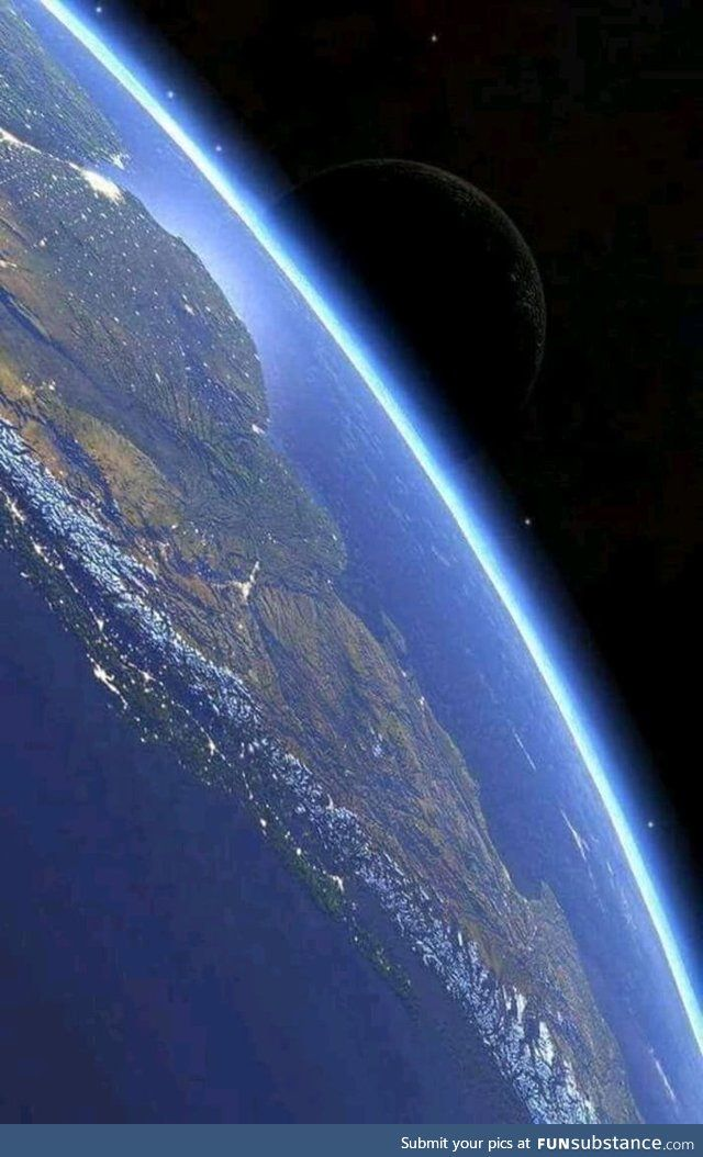 South America from the international space station featuring the moon - FunSubstance