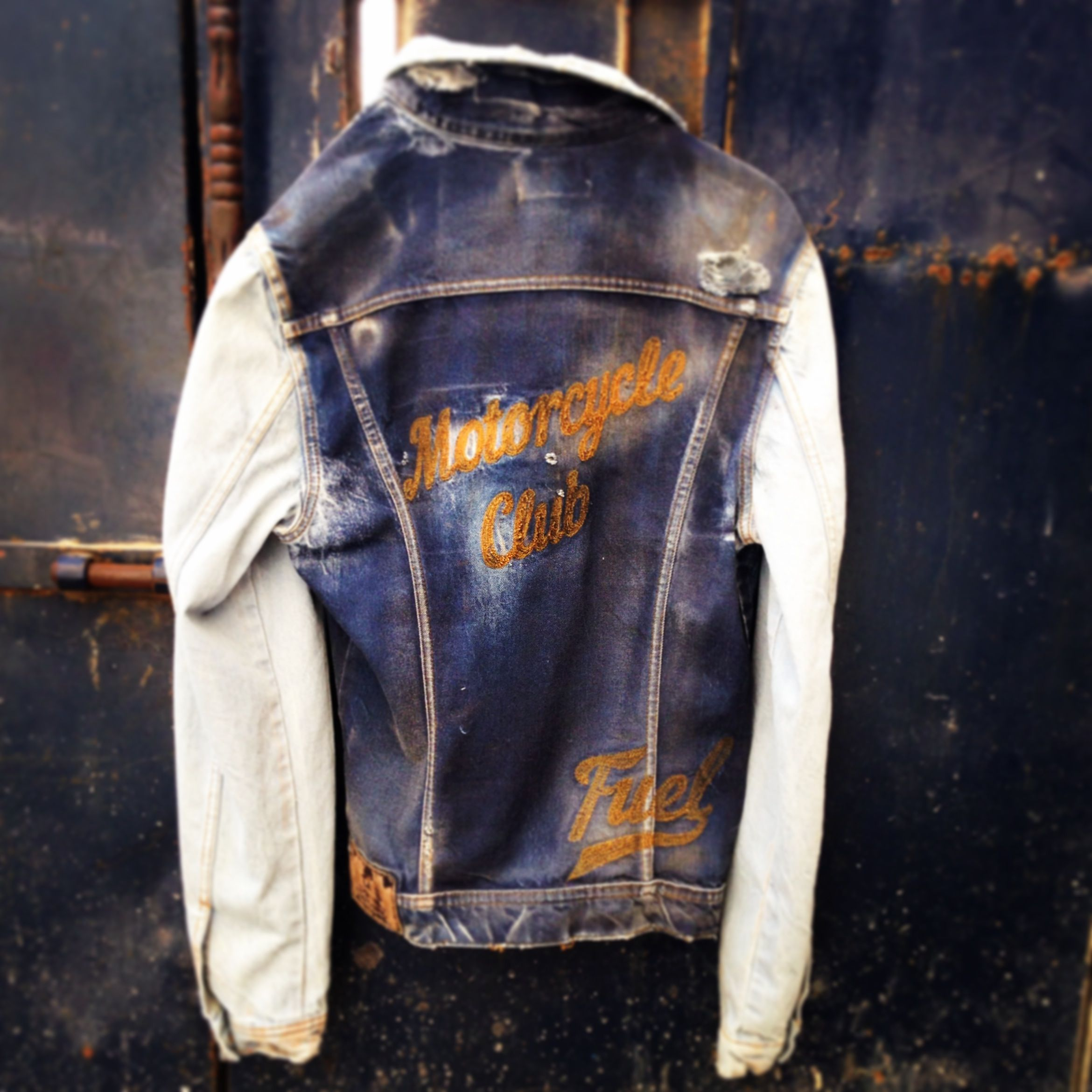 Denim Clothing PV Denim trend collection: 40's inspired twin colour denim biker / baseball jacket.