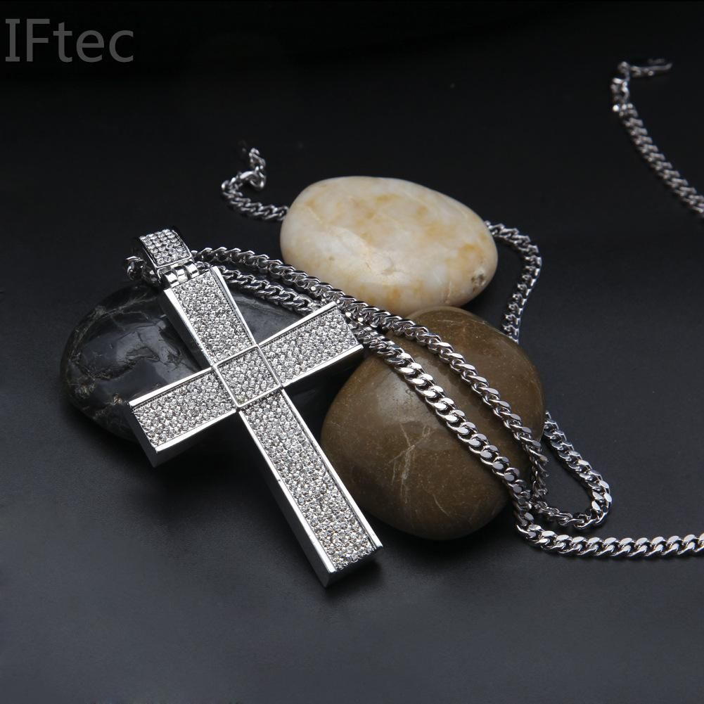 Iftec iced out thick silver color rock cross pendant long necklace