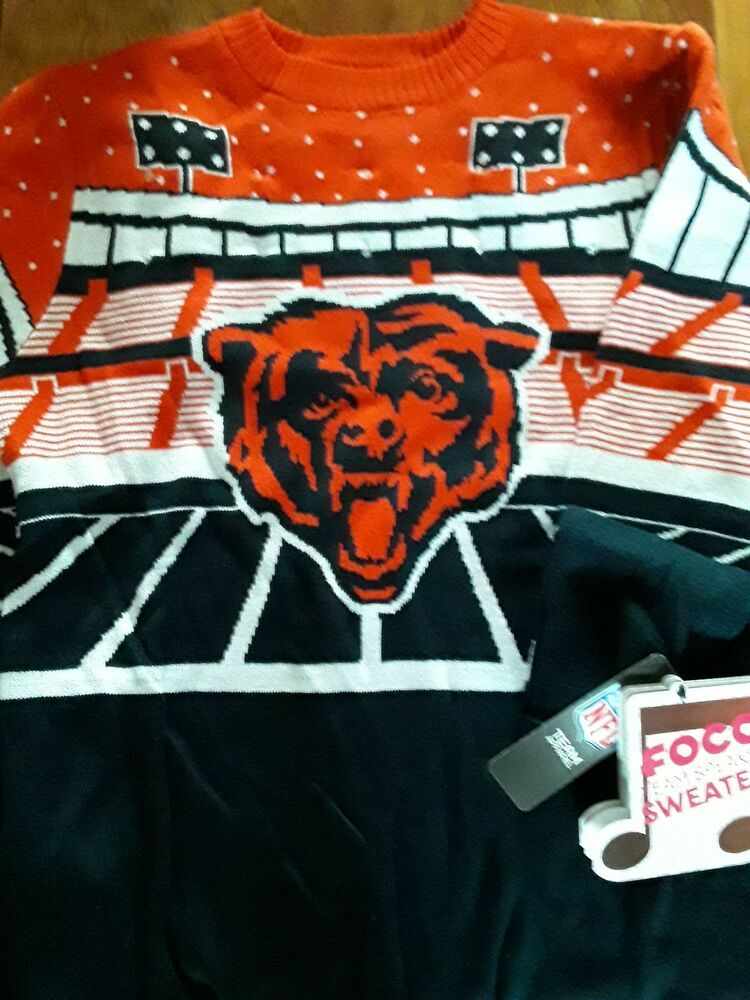 1e618dfd Details about CHICAGO BEARS Ugly Xmas Sweater LIGHT UP& Play Music ...