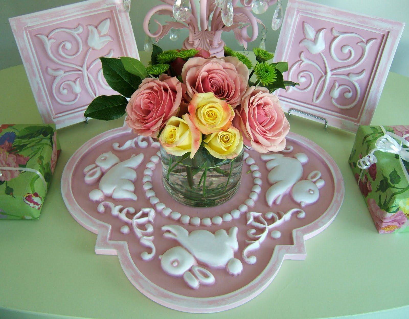 Baby Shower Centerpieces | MARIE RICCI COLLECTION: Ceiling Medallions as Centerpieces