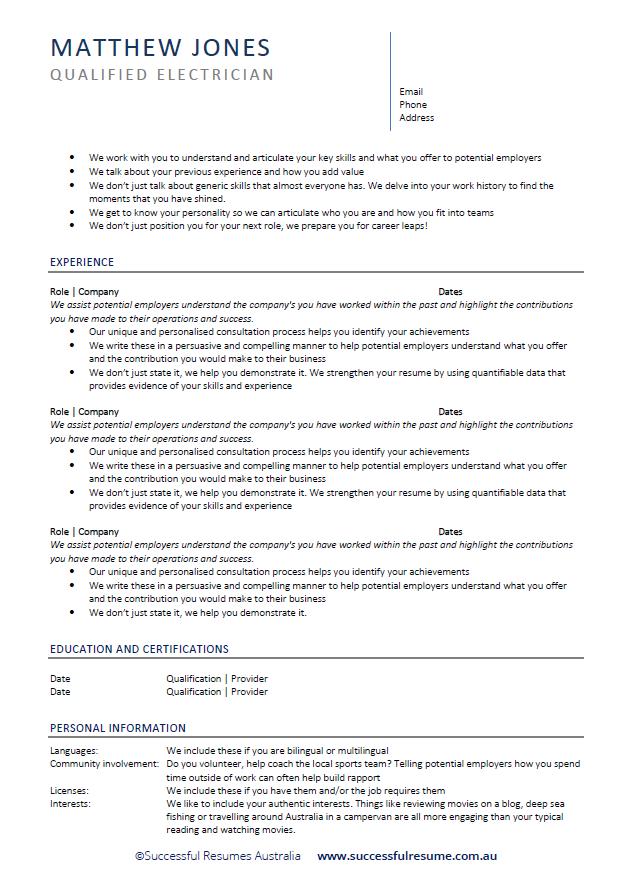 Professional Resume Services Online Sydney