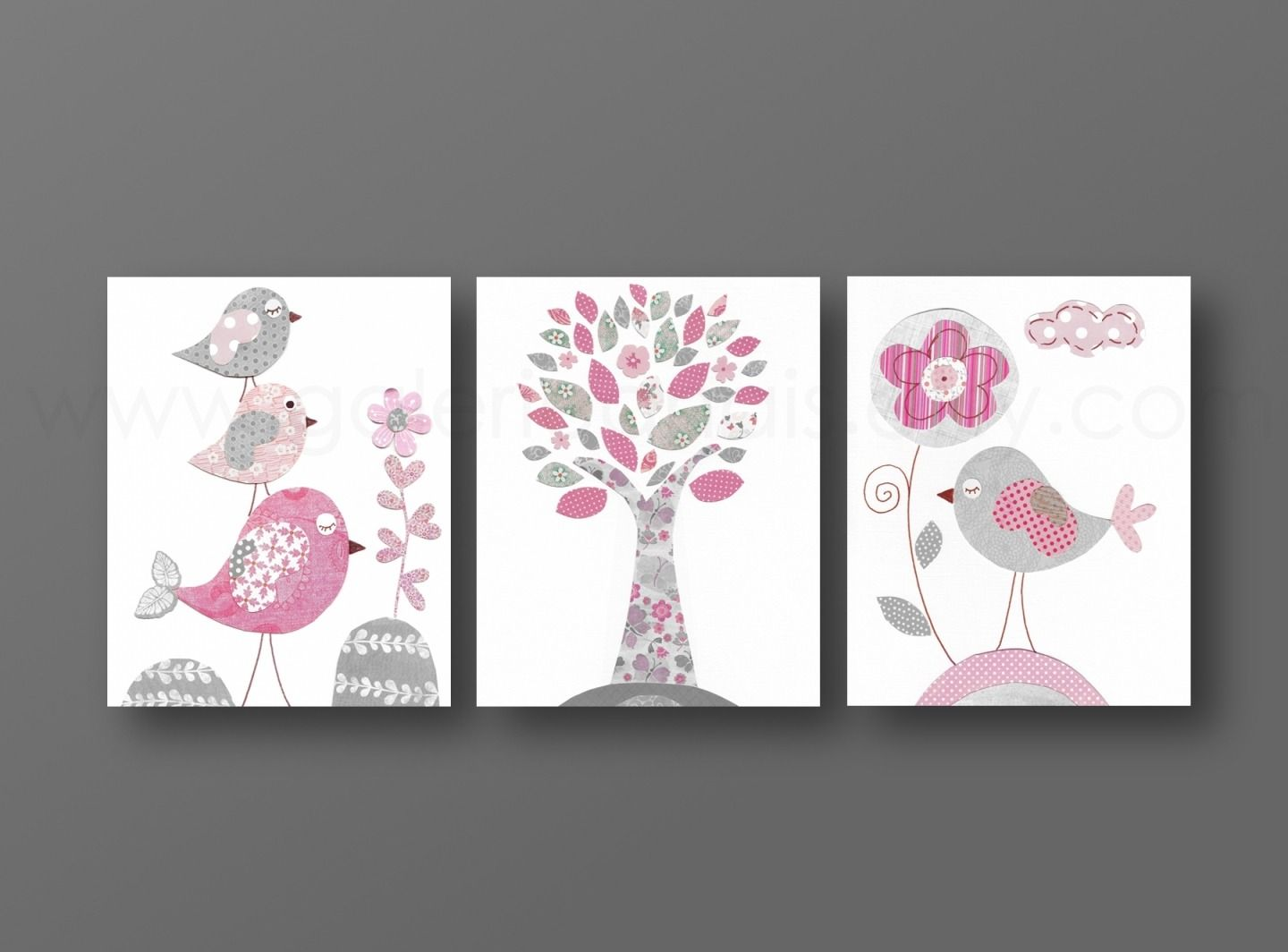 Lot de 3 illustrations pour chambre d 39 enfant et bebe rose et gris diy and other stuff - Cadre photo chambre bebe ...