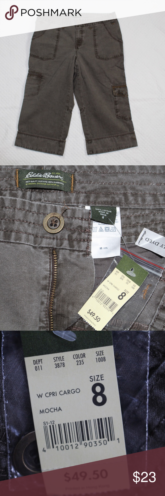 2f911a8d4d EDDIE BAUER Size 8 Capri Pants Brown Womens Cargo Brand new with tags