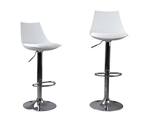 Modern White Swivel Bar Stool Pu Leather Height Adjustable Floor Friendly Counter Stools Set Of 2 White Conti With Images Swivel Bar Stools Bar Stools Counter Stools