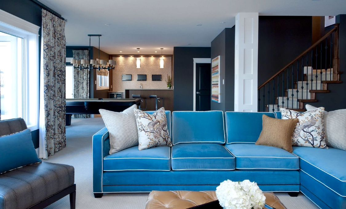 Sky Blue Velvet Sofa With White Piping Homedecor