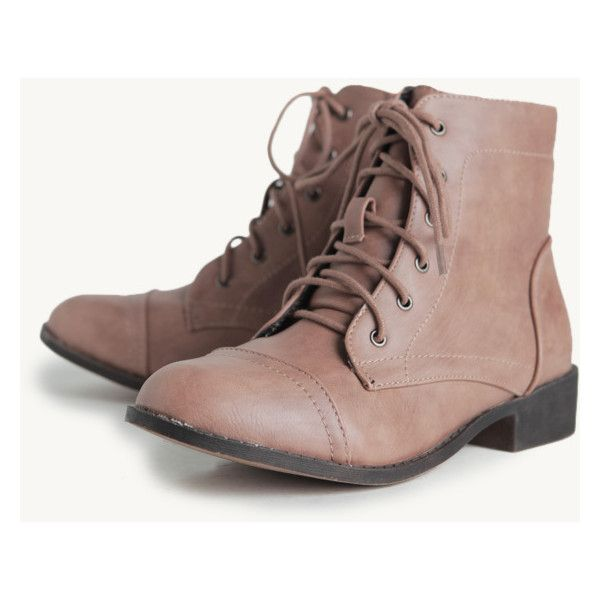 Desert Creek Booties (46 CAD) ❤ liked on Polyvore featuring shoes, boots, ankle booties, botas, vegan boots, taupe lace up booties, faux leather booties, taupe booties and faux suede lace-up booties
