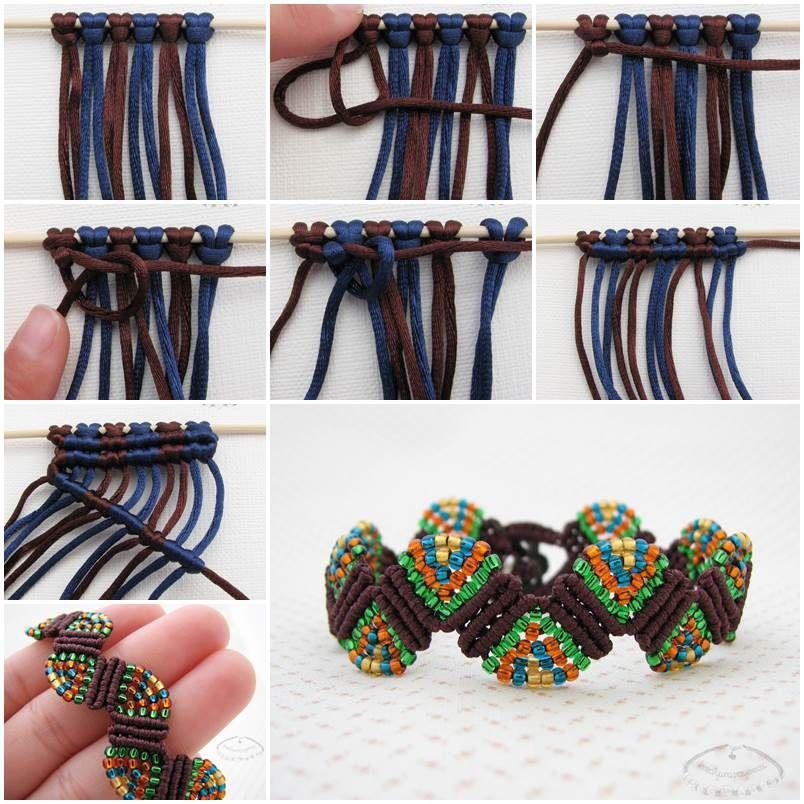 Creative Ideas - DIY Colorful Wave Macrame Beaded Bracelet   iCreativeIdeas.com Follow Us on Facebook --> https://www.facebook.com/iCreativeIdeas