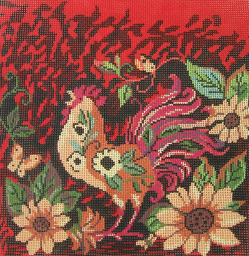 Handpainted Needlepoint Canvas Susan Winget Birds of a Feather Red Rooster SW102 #SusanWingetBirdsofaFeather