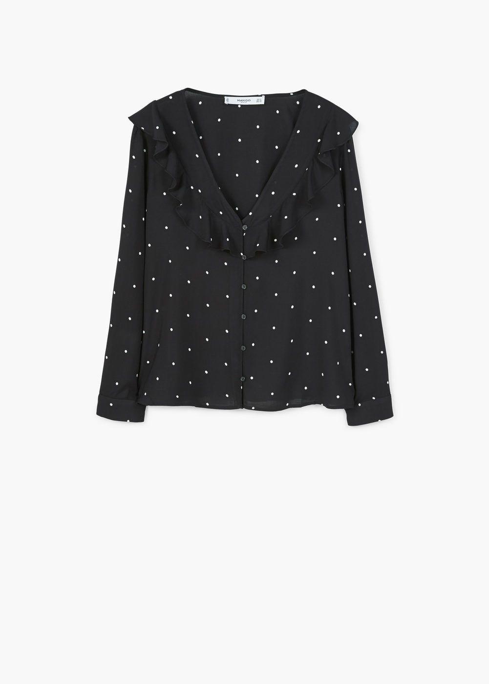Bedrukte blouse met ruche | MANGO