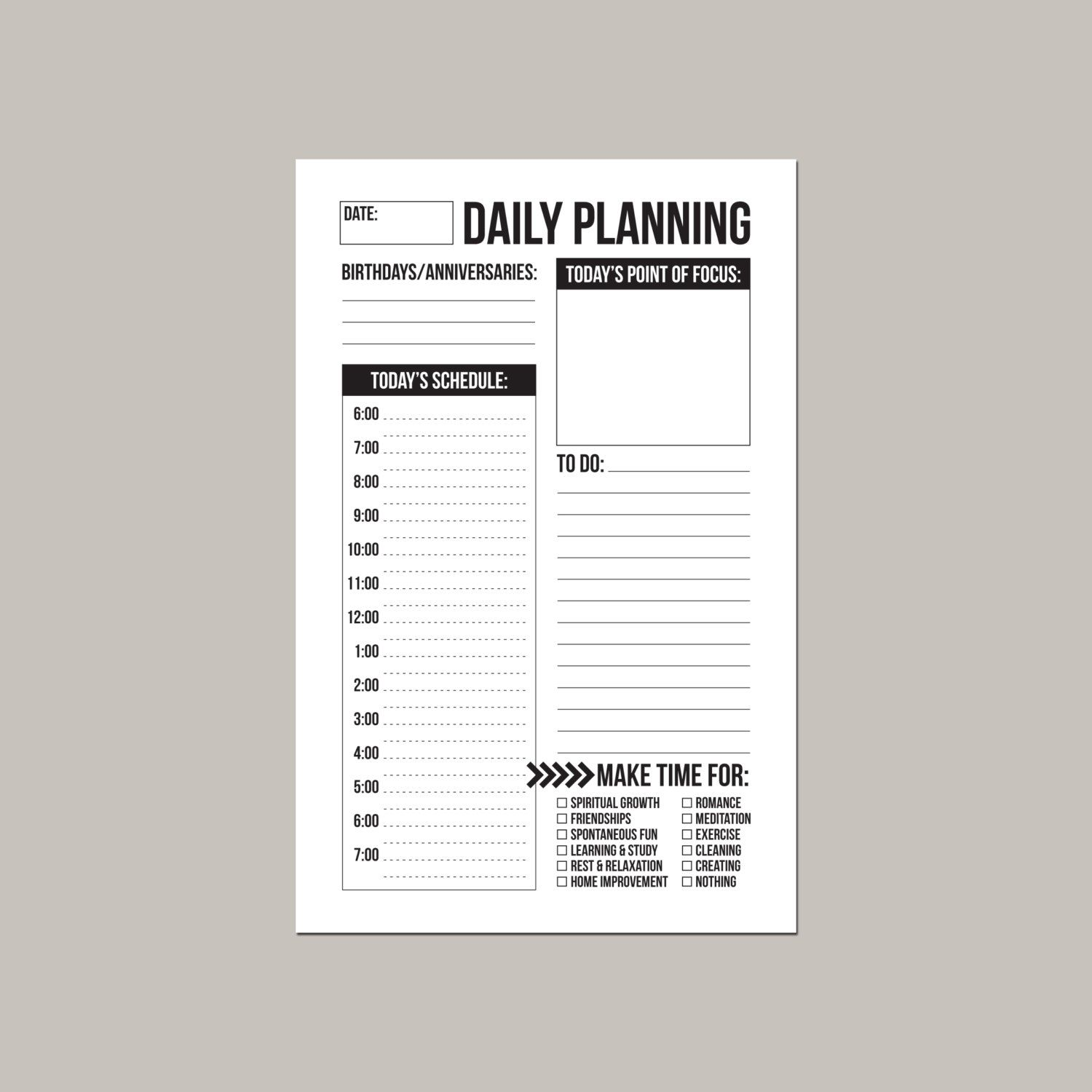 Daily schedule and study notes printable sheets - 5.5 x 8.5 | Study ...