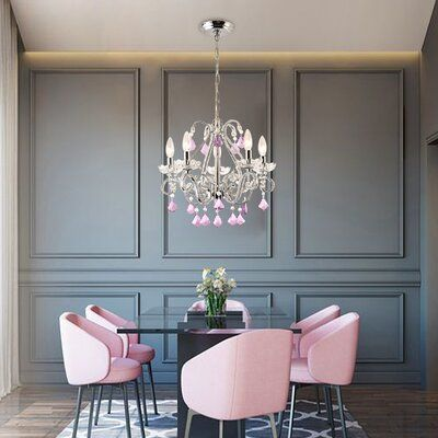 Rosdorf Park Womac 5 - Light Classic / Traditional Chandelier Crystal Color: Pink