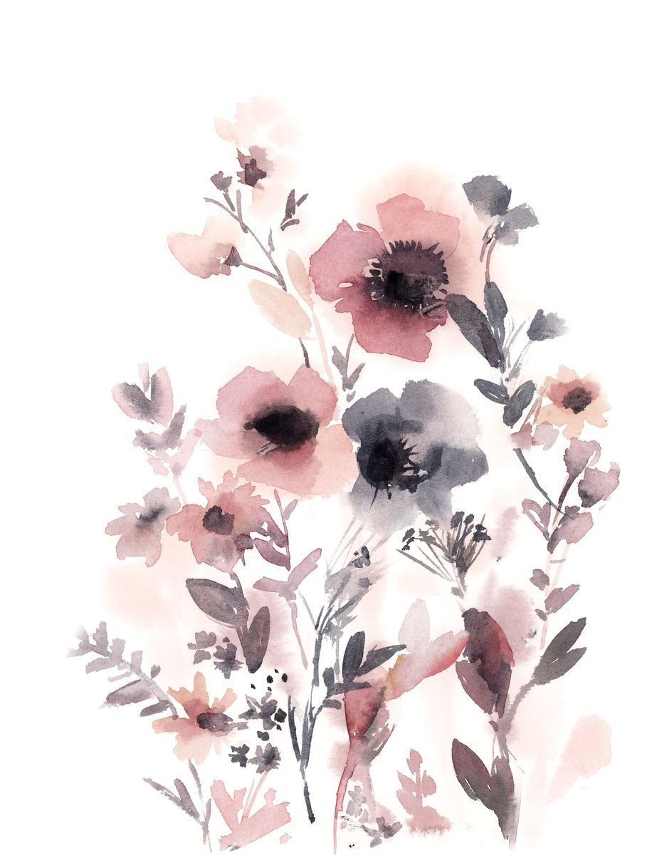 Pink Floral Composition n.5 Original Watercolor Painting
