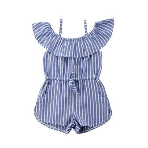 9c84a33586c1 2018 Toddler Kids Girls Clothes Stripe Blue Romper Jumpsuit One ...