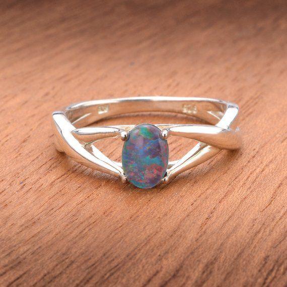 Dainty Solitaire Australian Opal Ring In 925 Sterling Silver Sku R2308 925 Black Opal Ring Opal Rings Australian Black Opal