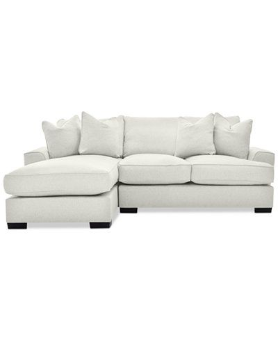 Closeout Ainsley 2 Piece Fabric Chaise Sectional With 4