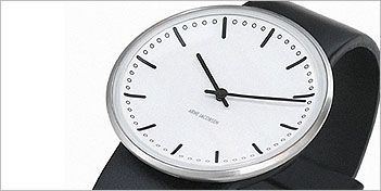 Following on the heels of the new Rosendahl's Arne Jacobsen clocks, is the release of a trio of watches based on the Romer (1942), City Hall (1956) and Banker's (1971) clocks by this highly respected Danish designer and architect. Recreated to reflect the original designs as faithfully as possible, except scaled down.  For more information on this Watch visit the website.