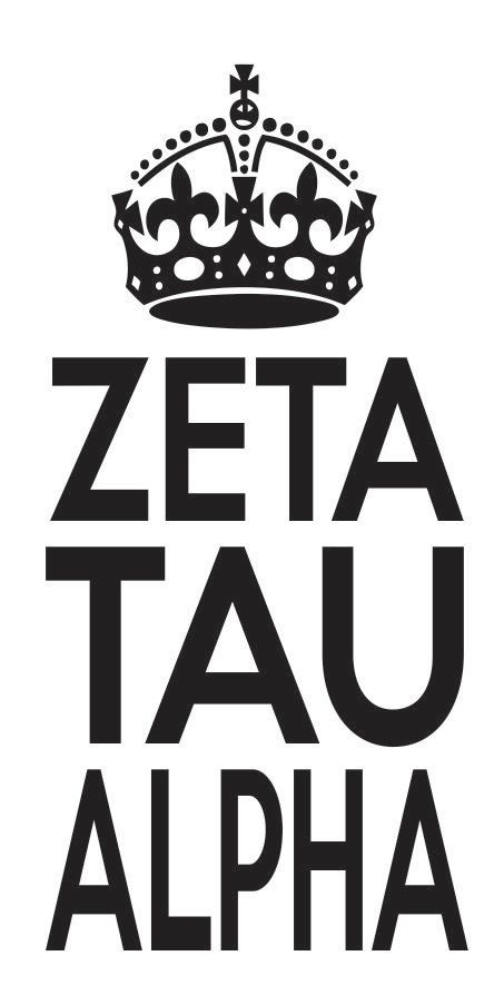 Zeta Tau Alpha Sorority Crown Keep Calm Sticker Window Laptop Car