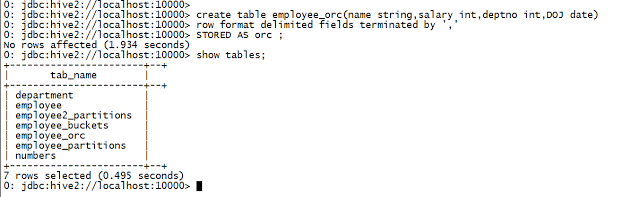 Step by step guide to create an ORC table in Apache Hive In