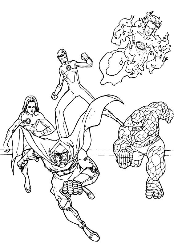 dibujos para colorear 4 fantasticos